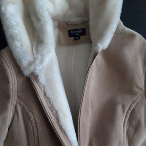 Sonoma Sude Leather Coat Jacket Tan Fleece Hood